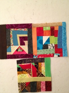 These are just bits of blocks sewn together, and cut again and strips added here and there.  I really like how these turned out.  Again...all scraps.